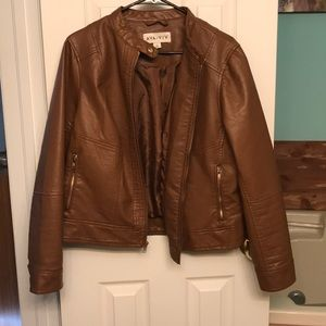 Chestnut brown faux leather jacket